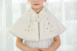 Wholesale Christmas Shawl For Girls - Cheap Kids Faux Fur Capes Winter Spring Shrug Stole Wrap Wedding Party Shawl Bolero Jacket Coat For Girls Formal Wear Beaded Crystal