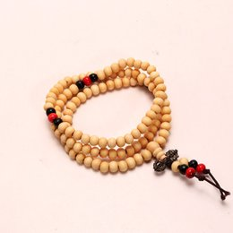 2019 piccolo uomo di stringa Il braccialetto di 108 perline buddista e perline di rosario vende piccoli doni 6 mm uomini e corde a mano da donna con nodo cinese A002 piccolo uomo di stringa economici