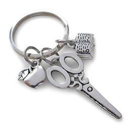 Wholesale book plants - wholesale 10pcs lot scissor key chain book apple charm pendant key ring for teacher Thanksgiving jewelry gift