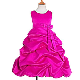 Chicas recogen vestidos de desfile online-Vestidos de la muchacha de flor de la recepción del satén de las muchachas para el vestido formal de la fiesta del desfile de la boda