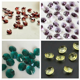 Wholesale Decoration Wedding Glass Beads - 200pcs 2 Hole 14mm K9 Crystal Glass Octagon Beads Chandelier Bead Parts Wedding &Home Decoration WQM77