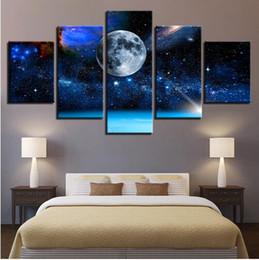 Pintura a óleo da lua on-line-Frete grátis 5 Peças Lua Terra Universo Céu Estrelado Óleo Home Decor Art Portait Poster Parede Pictures Sala Moderna Paisagem Pintura Da Lona