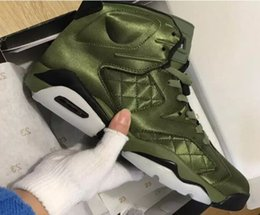 Wholesale Night Jacket - High Quality 6 6s Flight Jacket Pinnacle Saturday Night Live Army Green Basketball Shoes Men 6s Nylon Army Green Sneakers With Shoes Box