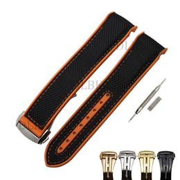 22mm Hombres Mujeres Naranja Impermeable Buceo Silicona Sutura de Goma Correa de Reloj de Lona Negro con Hebilla de Acero Inoxidable para Omega desde fabricantes