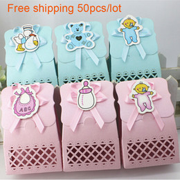 Wholesale Baptism Gifts Decoration - Wholesale- Cute Baby Shower candy box Party Supplies Decoration Favor box Boy & girl Paper Baptism Kid Favors Gift bag Choocolate container