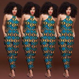 roupas casuais femininas Desconto Sem mangas strappy Dashiki Africano Imprimir macacão mulheres romper 2018 halter verão sexy fora do ombro longo calça outfits