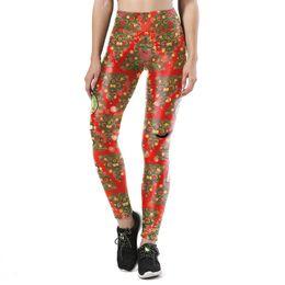 Polainas de flor vermelha on-line-JIGERJOGER 2017 nova impressão digital 3D Skinny leggings Vermelho Retro Vintage padrão de flor Xmas Sports YOGA Workout Ginásio de Fitness apertado