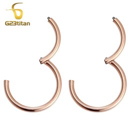 Wholesale Earrings Ear Piercing For Women - G23titan Rose Gold Color Small Hoop Earrings for Women Men Titanium 6-12mm Round Hinged Segment Circle Ear Piercing Jewelry