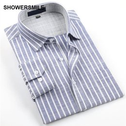 Wholesale flax dress l - SHOWERSMILE Brand Clothing Linen Shirts Men Long Sleeves Plus Size No-Iron Cotton Flax Business Casual Shirts Mens Striped Shirt