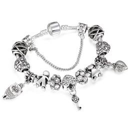 Le catene chiave si adattano online-Perle chiave dei ragazzi delle ragazze dei ragazzi del braccialetto di fascino di colore d'argento romantici adatti il braccialetto di marca della catena del serpente per i gioielli Dropshipping delle donne