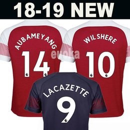 Wholesale football 14 - New 2018 Arsenal Soccer Jersey 2019 LACAZETTE 11 Ozil 14 AUBAMEYANG 10 WILSHERE MKHITARYAN Ramesy XHAKA GIBBS 18 19 Football uniforms