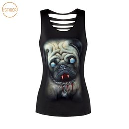 Wholesale Black Zombie - ISTider 2018 New Summer Tops 3D Zombie Dog Pug Printing Hollow Out Black Sleevesless Tank Top Women Harajuku Sexy Tank Tops