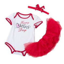 Wholesale boy clothings - Newest Baby Girl Clothes Infant Birthday Gifts White Bodysuit Red Tutu Skirts Headband 3 Pcs Girls Newborn Clothings Sets