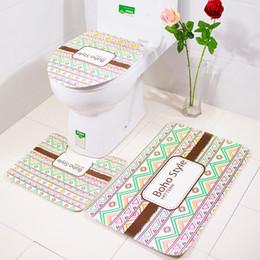 Wholesale Soft Toilet Cover - Bohemian Bathroom Mat and Toilet Cover Stylish Bathroom Decoration Soft Flannel Absorbent Bath Rug Set Non-slip Bath Carpet 3Pcs