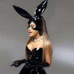 Wholesale Party Mask Making - fast shipping sexy black latex christmas bunny rabbit mask hoods unisex fetish rubber party hood gummy with hole plus size