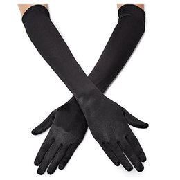 Wholesale Long Costume Gloves - Classic Adult Black White Red Grey Skin Opera Elbow Wrist Stretch Satin Finger Long Gloves Women Flapper Gloves Matching Costume