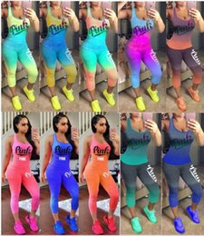 Wholesale Yellow Tracksuit For Women - PINK Women Summer Tracksuit Pants Tanks Tops Sports Suits Print Letter Leggings T-shirt Scoop Neck Sleeveless Vest For Lady Gym Fitness 10