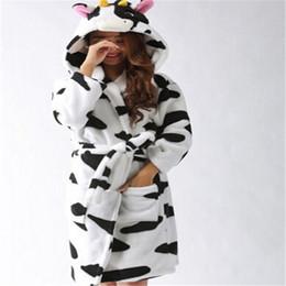 Wholesale Cow Neck Shirt - New Milk Cow Flannel Robe Autumn And Winter Bathrobe Long Sleeve Cartoon Animal Robe Women Pijama Peignoir Animal Pajamas