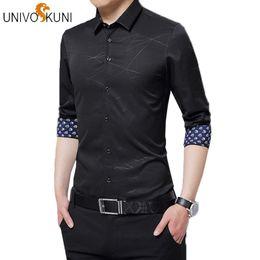 2019 camicie formali sottili da uomo UNIVOS KUNI 2019 New Classic Slim Fit Uomo Camicie maniche lunghe Casual stampato elegante mens moda formale camicie 5XL H356 camicie formali sottili da uomo economici