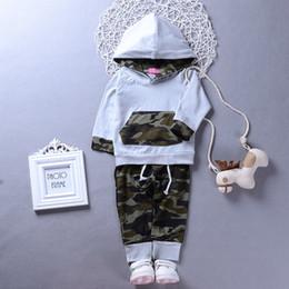 Vestiti da caduta del neonato online-Hot INS Baby boy Casual Hoddies manica lunga + pantaloni mimetici Toddler Outfits 2pcs Set 2018 Autunno Nuovo arrivo all'ingrosso