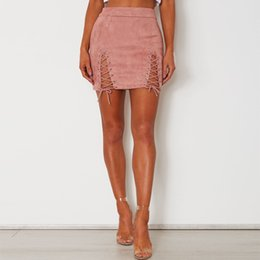 Wholesale Womens Suede Skirts - Hot Sexy Womens High Waist Lace Up Suede Leather Preppy Bodycon Pencil Short Mini Skirts Punk Hollow Out Bandage Pencil Skirt