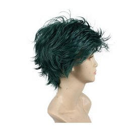 highlighting short hair Promo Codes - Free Shipping Fashion 6 Inch Short Wave Syntheic Hair Wig Green with Highlights Full Cosplay wigs