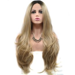 Wholesale peruca natural - Beautiful Women Wigs High Temperature Fiber Peruca Full Wigs Black Ombre Blonde Long Water Wave Synthetic Lace Front Wig For Women Costume