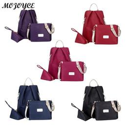 60a51e837e17 backpack purses 2019 - 3pcs set Women Solid Backpack Shoulder Bag Purse  Casual Girls Nylon Bags