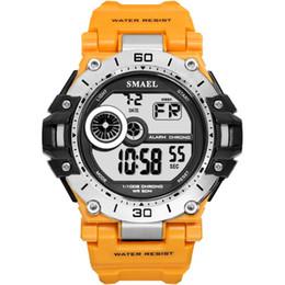 2019 желтые спортивные часы привели Yellow Smael Men Digital Wristwatch Led Sport Watches Masculino Reloje  Quartz Electronic Clock New Arrival Erkek Saat дешево желтые спортивные часы привели