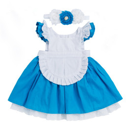 62d357482 Vestido de niñas 2018 Nueva ropa de algodón para niños Alice Cinderella  Vestido blanco azul Bow Niñas Cosplay Party Princess + Hairband 2 piezas de  ropa