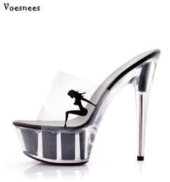 tubo afilado Rebajas Nuevo 2018 Zapatos Mujer Verano Elegante Tacones Altos 15 CM Fina Transparente Plataforma de Cristal Zapatillas de Mujer Zapatos Tubo de Acero Baile