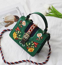 Wholesale Wild Totes - size20*8*15 Designer handbags European and American fashion hit color embroidery small square bag wild Joker bag Shoulder bag handbag tide