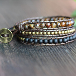 schwarze freundschaftsarmbänder Rabatt Triple einfache Leder Perlen Armband, Tigerauge, Kupfer, schwarz Perlen Armband Freundschaft Armbänder Schmuck