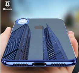 Wholesale Baseus Iphone Case - Baseus Luxury Plating phone Case For iPhone X Capinhas Ultra Thin Hard PC Back Cover color mirror Case For iPhoneX Gel Coque
