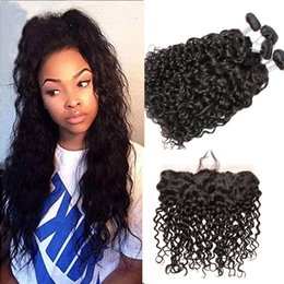 Wholesale Malaysian Body Wave Frontals - Wet And Wavy Malaysian Human Hair Weave Bundles With Full Lace Frontal Closure Water Wave Wefts With Lace Frontals 13x4 Ear To Ear