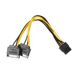 Wholesale Adapter 15 - Dual SATA 15pin to 8pin(6+2)   6 pin Video Card Powr Adapter Cable 20cm PCI-E SATA Power Supply Cable 15- pin to 8 pin cable 100pcs lot