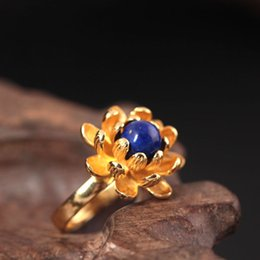 Wholesale Natural Gold Jewelry - designer fashion 925 sterling silver ring gold beautiful flower lotus Lapis lazuli Lord rings natural pearl Jewelry china direct wholesale
