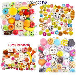 Wholesale Food Phone Charms - 180pcs lot Kawaii Squishies emulate Bread food for cell phone Bag Charm Straps Wholesale mixed Squishy novelty toys decompression toys
