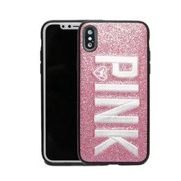Design de moda Glitter 3D Embroidery Love Pink Phone Case Para iPhone X, iPhone 8, 7, 6 Plus