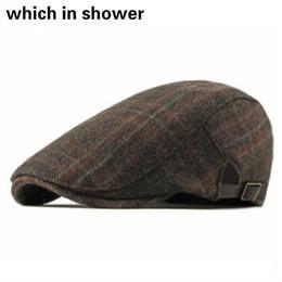 17afa5dc29c54 Women Plaid Wool Beret Casual Grid Thick Warm Winter Visor Woolen Men  Cabbie Flat Cap Male British Style Vintage Ivy Hat Bone