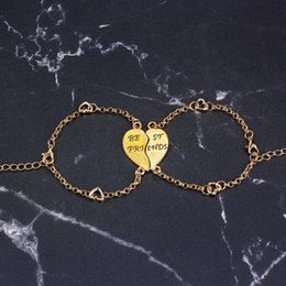 2pcs Fashion Gold Silver Chain Bracelet Women Men Letter Print Heart Jewelry For Best Friend Birthday Gift Affordable Gifts