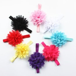 Wholesale Shabby Flowers For Headbands - wholesale Shabby Flower For Children Hair Accessories Fabric Ruffled Lace Flowers For Baby Headband Hair Ribbon Dovetail Bow Headband