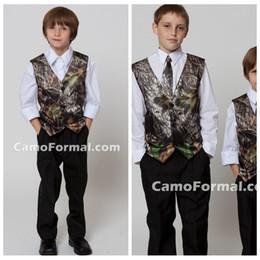2019 5t vestito nero solido 2018 Top Sale Camo Boy's Formal Wear Gilet con cravatta Camouflage Groom Boy Vest Cheap Satin Personalizzato formale Gilet da sposa Camouflage