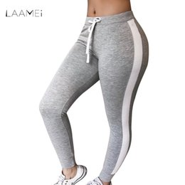 a799ed9280 High Waist Pants Trouser Women Drawstring Waist Skinny Pants Grey Ribbed  Knit Striped Sideseam Sweatpants Fitness Legging