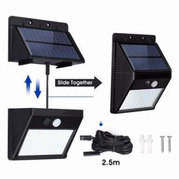 iluminação cabos de alimentação Desconto Ao ar livre 28 LEDs Dividir Movido A Energia Solar Lâmpada PIR Sensor de Movimento 3 Modos À Prova D 'Água Separado Jardim Rua Lâmpada Noite Cabo de Extensão de 8.2ft