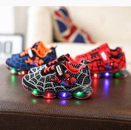 Zapatos de dibujos animados para niños chicos online-Spider Man Kids Sneakers Cartoon Anime Boy Girl Zapatos casuales Ligero Niños Zapatos para correr