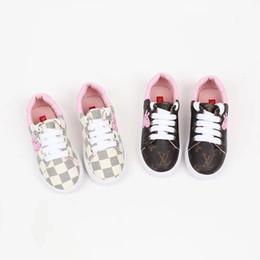 2019 zapato de fondo plano único Autumn Girl Exceed Fine Niños Zapatos casuales Lovely Cartoon Printing Lattice Single Shoe Flat Bottom High Quality Kids Shoe zapato de fondo plano único baratos