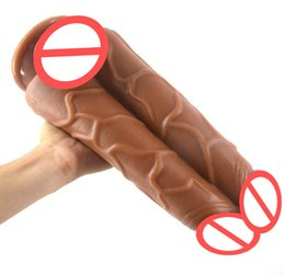 Wholesale suction toys for men - Double Dildo Realistic Penis with Strong Suction Huge Big Dildo Ribbed Man Dick Sex Toys for Women Lesbian Masturbation