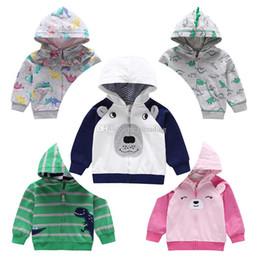 2019 giacca con cappotti dinosauri per bambini Baby Boy girls dinosaur Stampa Outwear cartoon animal Cappotto con cappuccio Bambini Primavera Autunno Abbigliamento Boutique Cardigan Jacket 5 stili C5432 giacca con cappotti dinosauri per bambini economici