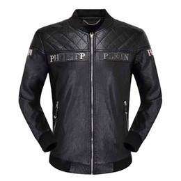 Argentina Nueva calidad del cráneo de los hombres chaqueta de cuero negro PP suede chaqueta con cremallera delgado jersey top M-3XL chaqueta de los hombres PP Suministro